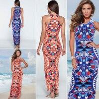 Mới thời trang bohemia casual sexy mùa hè người phụ nữ ăn mặc không tay in dài bãi biển ăn mặc O-Cổ màu cam xanh ăn mặc miễn phí