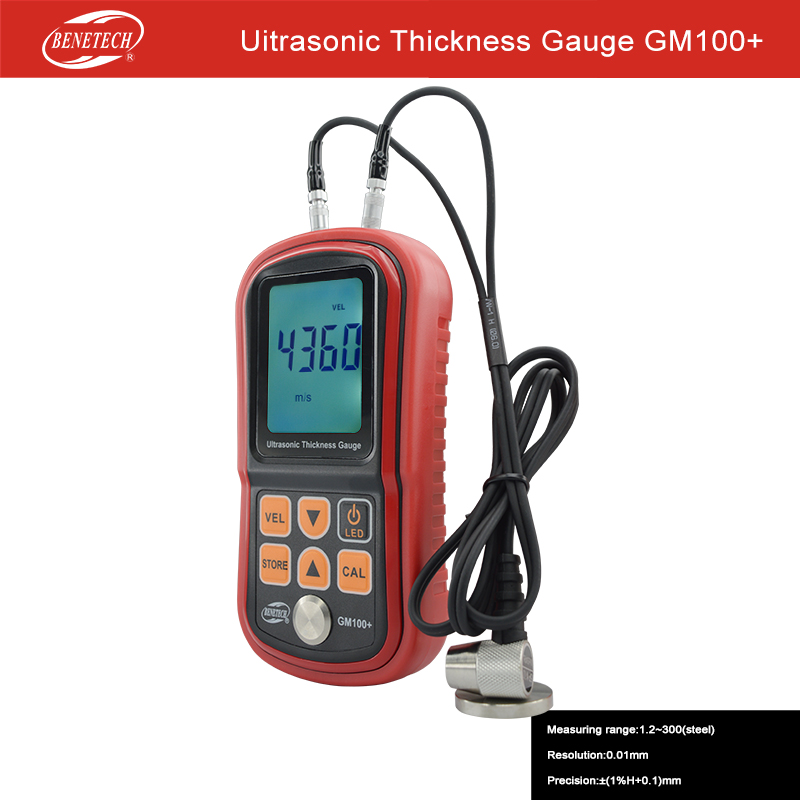 GM100+ Ultrasonic Thickness Gauge Data Store 1000-9999m/s Auto Calibration Auto linear compensation Coupling status indication