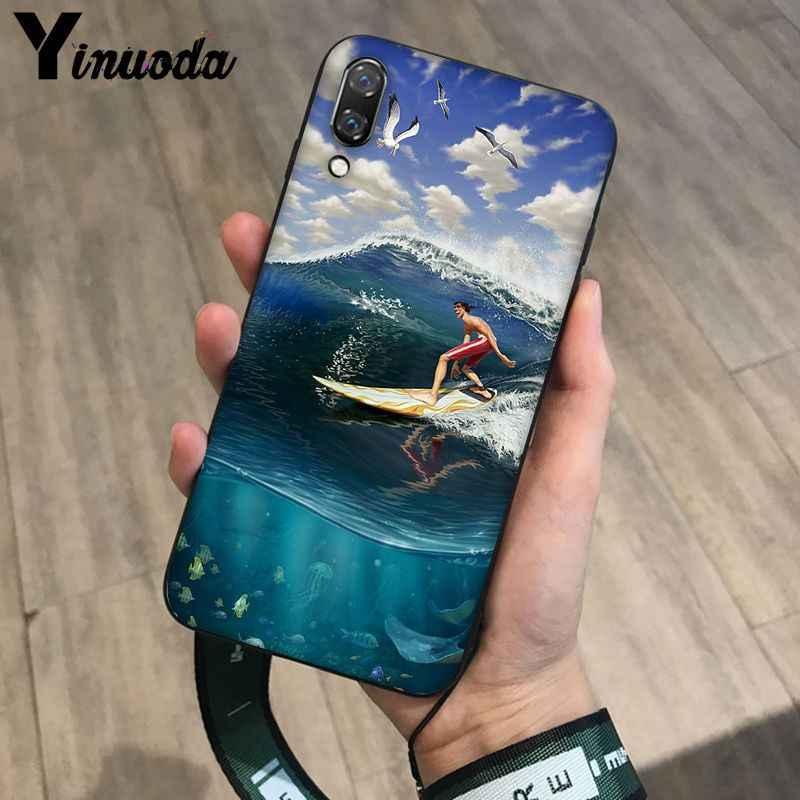 Yinuoda กระดานโต้คลื่น art surf Girl สีดำ TPU Soft Phone สำหรับ Huawei P9 P10 Plus Mate9 10 Mate10 Lite p20 Pro Honor10