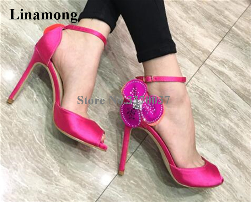 aliexpress.com - Hot Selling Women Fashion Peep Toe Pink Black Rhinestone  Flower Thin Heel Pumps Ankle Straps Satin High Heels Wedding Shoes -  imall.com 9c047c1da9