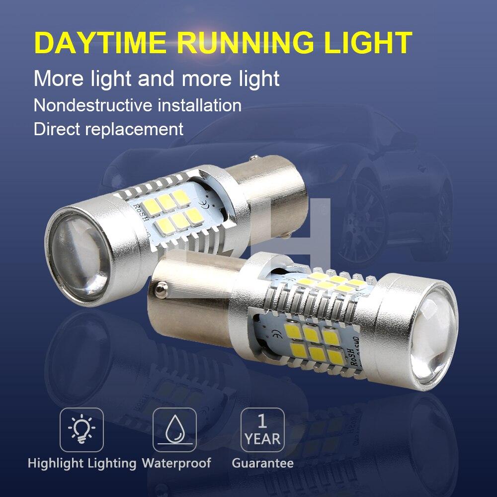2x 1157 P21/5W LED BAY15d 2057 2357 75 S25 21SMD High Power Car LED Tail Brake Stop Parking DRL Light Bulb White