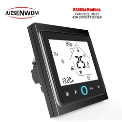 Display Touch Screen LCD 220VAC, controlador de temperatura do termostato & RS485 24VAC Para Ar Condicionado Central 3 Velocidade Unidades Da Bobina Do Ventilador