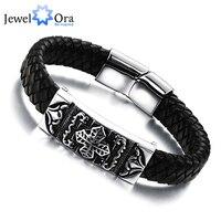 Genuine Leather Stainless Steel Men Bracelet Wrap Wristband For Men Classic Bracelet Men Bangle Jewelry JewelOra