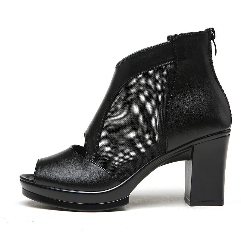 001 Tacón Vaca Zapatos Black Botas Moda De Pez Famosa Malla Tobillo 002 Cabeza 2018 black Piel Sandalias Sexy Mujer black Alto Verano 003 6Uwq6xf