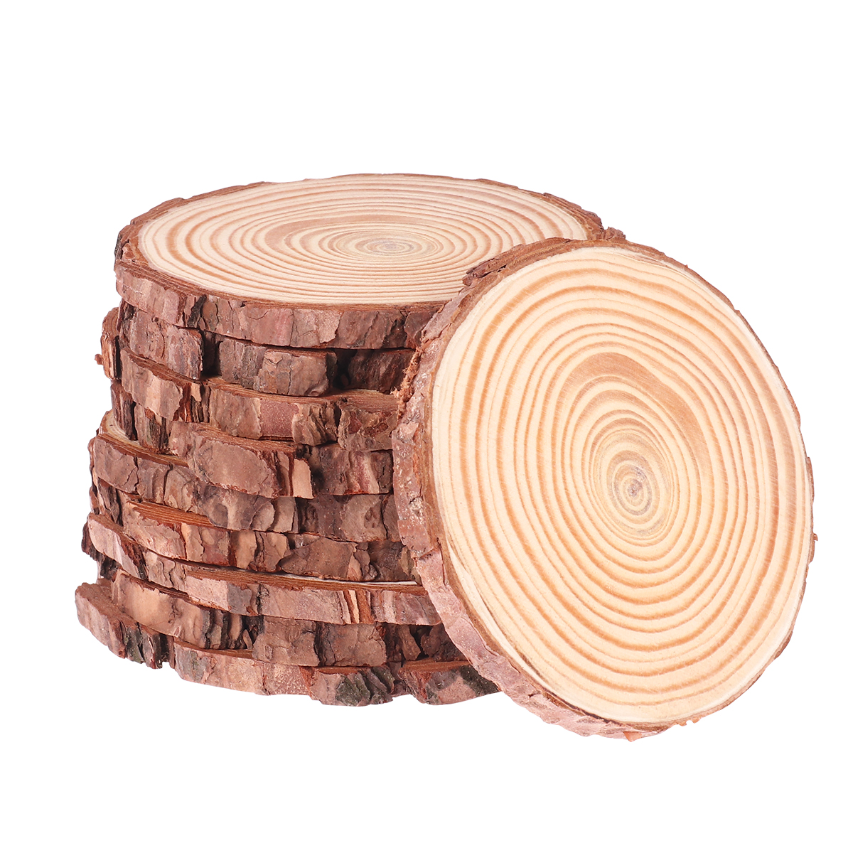 10pcs 10-12CM Natural Wood Log Slices Discs For DIY Crafts Wedding Centerpieces