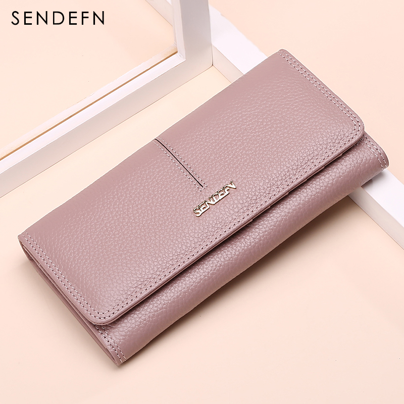 SENDEFN fashion women wallets genuine leather long lady casual clutch purse card holder wallet fsinnlv genuine leather wallet for women lady long wallets 10 colors women purse female women wallet card holder day clutch hb69