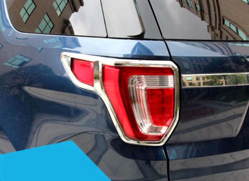 Chrome Rear Tail Lamp Tail Light Cover Trim 2pcs for Ford Explorer 2016 2017 2018