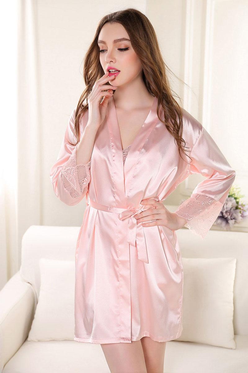fc4b0675d9 Sexy Women s Plus Size Silk Warm Wedding Satin Robe Lace Sheer Lingerie  Dress Nightgown Bathrobe Kimono Silk Gowns 2015 Women-in Robes from  Underwear ...