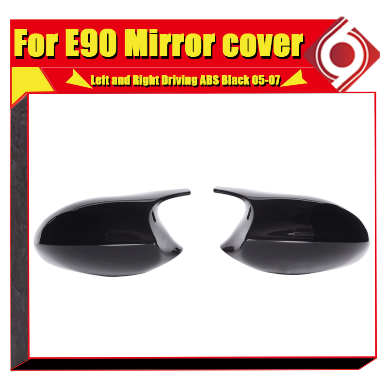 Image 4 - M3 Look Mirror Cover Cap Add on Style ABS Gloss Black For BMW E90 3 Series Sedan 1:1 Replacement 2 Pcs Side Mirror Cap 2005 2007-in Mirror & Covers from Automobiles & Motorcycles
