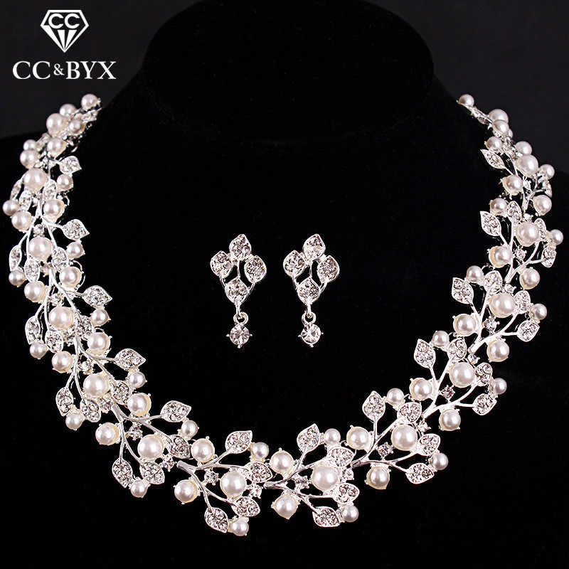 CC wedding jewelry For Women Bridal Pearl & Crystal Necklace Earring Sets Beautiful Flower Shape Design Luxurious Fashion D004