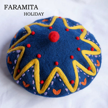 Faramita Holiday Hand-made Wool Felt Bohemia Baroque Hats Women Manual Berets Sp