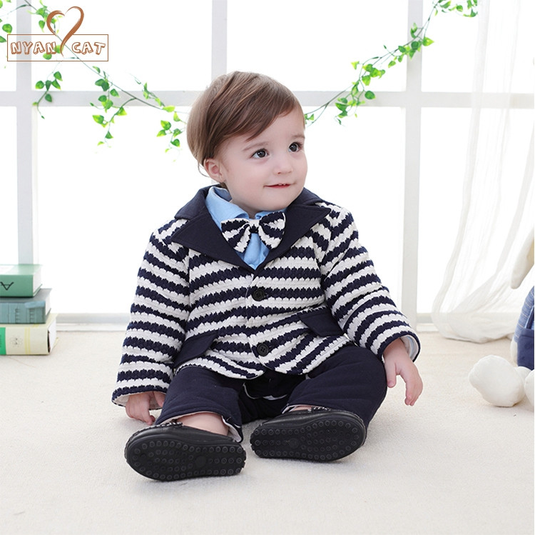 Nyan Cat Baby boys gentlemen bow tie wedding clothes striped bow tie full sleeves winter romper+coat set party birthday costume ремни lee ремень gentlemen