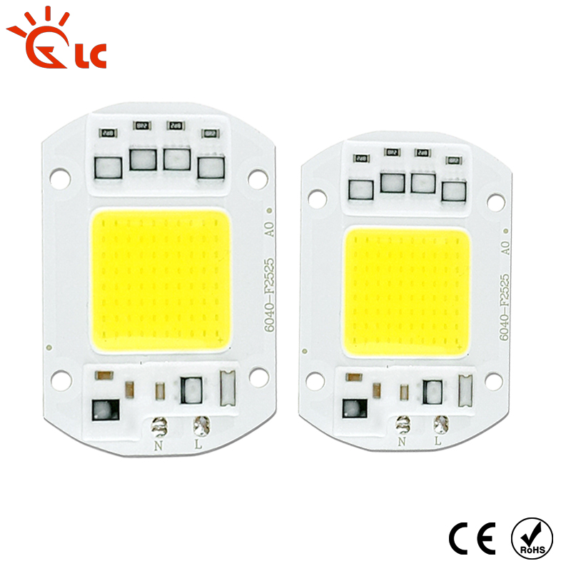 LED COB Chip 220V 240V 3W 10W 20W 30W 50W Cold White Warm White LED Bulb Lamp Input Smart IC Flood Light Spotlight