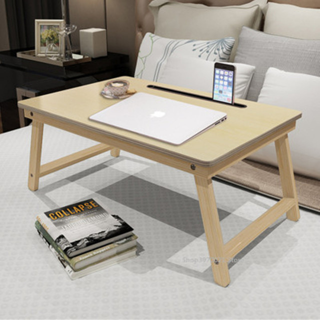 Solid Wood Computer Desk Portable Folding Table Laptop Stand Notebook Office Study