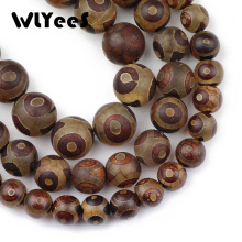 WLYeeS Natural Stone China Tibetan Dzi Eyes Round Ball 8-12mm Loose Space Bead for Jewelry Bracelet Accessories Making DIY