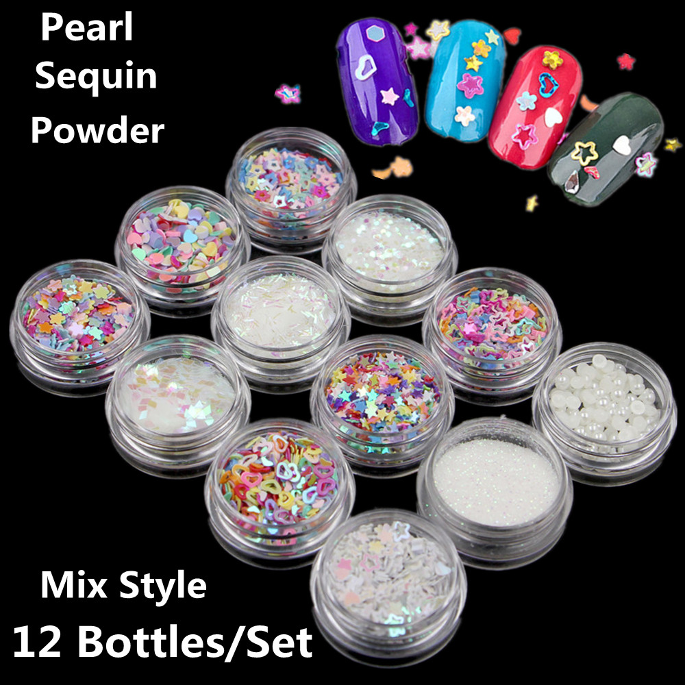 3D Mix Nail Art Glitter White Powder Laser Star Heart Sequins Colorful Snowflake Mixed Design Pearls Decoration Fashion hot 10g colorful laser mirror powder mermaid rainbow gradient powder dust glitter chrome pigment nail sequins nail art tools
