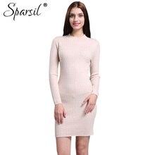 Sparsil Women's Autumn Slim Fit Cashmere Blend Dress Fashion Lady Full Sleeve O-Neck Knitted Vintage Mini Dresses