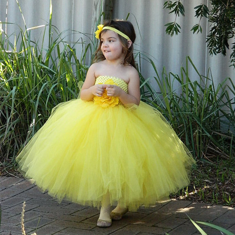 d2dda348c7e87 US $8.98 10% OFF|New Girls Yellow Flowers Long Tutu Dresses Kids Fluffy  Crochet Tulle Tutus Ball Gown with Headband Children Party Dress Clothes-in  ...