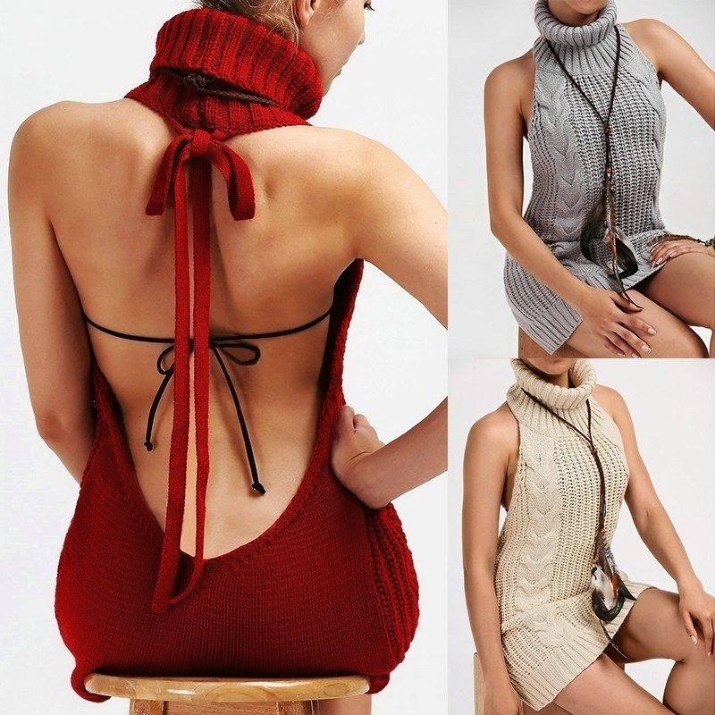 Sweater Turtleneck Sleeveless Pullovers Knitted New Long Open And Tie Killer Virgin Backless