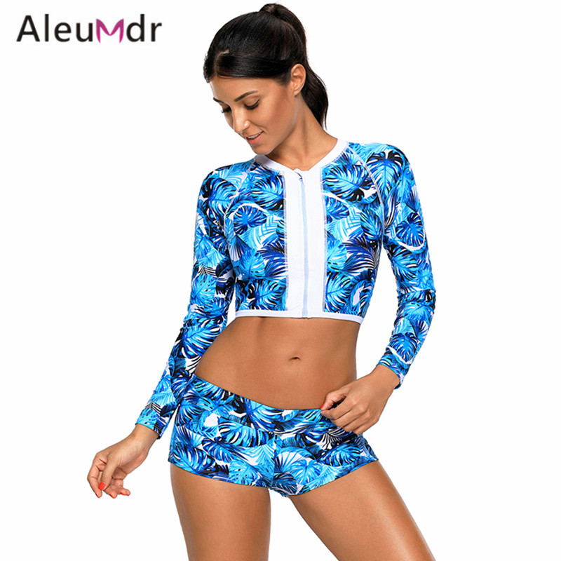 34310fa3c0 Aleumdr Swimwear Women Bikini Set 2018 Long Sleeve Print Backless Crop Top  With Women Swimsuit Bottoms Bathing Suits LC410475-in Body Suits from  Sports ...