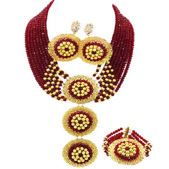 Wine Costume African Beads Jewelry Set Crystal Necklace Nigerian Wedding Accessories Party Jewelry Sets for Women 8-3PH02