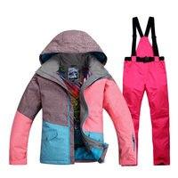 Высокое качество многоцветный женский лыжный костюм комплекты водостойкая ветрозащитная Толстая зимняя теплая одежда Сноубординг костюм