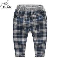 I K Boys Pants Cotton Long Plaid Trousers 2017 Spring Autumn Cotton Pencil Pants Children Kid