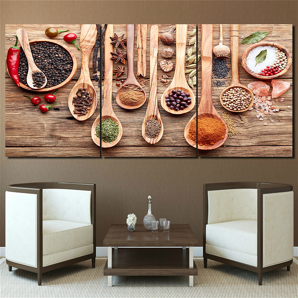 Food Spoon Grains Spices Kitchen Picture Wall Art Canvas