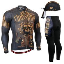 Life on Track Brand Spring Cycling Set Seamless Stitching Long Sleeves Bicycle Clothing Skulls Gel Pad Long Maillot