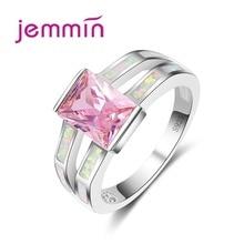 Классическое винтажное розовое прямоугольное кольцо с кристаллами океана Голубое Сверкающее кольцо с опалом из стерлингового серебра 925 п...