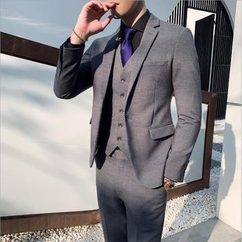 Brand Men Black Dress Suits Blazer Set 2 Buttons Classic High Quality Handmade Work Clothes Suits Set 3 Pec (Jackets+Pants+Vest)
