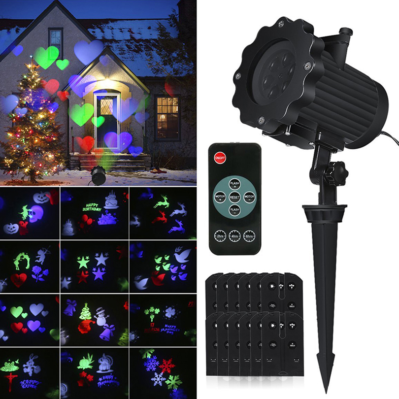 Waterproof Roating Christmas Light Laser Projector Lamps Landscape Snowflake Projector Spotlight Holiday Decoration Stage Light ...