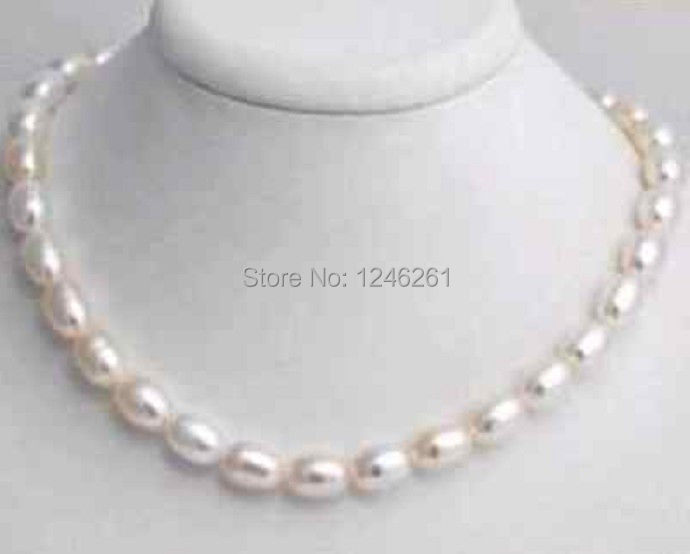 Beautiful 7 8mm White Freshwater Pearl Rice Necklace Rope Chain