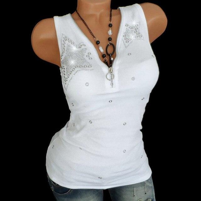 Frauen Damen Heißen Bohrer Zipper Sleeveless Weste Tank Bluse Pullover Tops Shirt frauen fünf-stern heißer bohren pailletten top