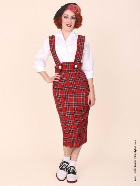 0f541be30e9 25- vintage 50s Audrey Hepburn button up wiggle midi wide strap brace  pencil skirt in red black plus size pinup saia jupe faldas