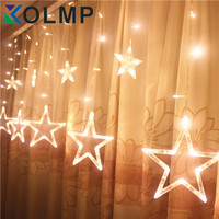 220V Curtain Star String Lights Christmas New Year Decoration Christmas Led Lights Christmas Decorations Pink Purple