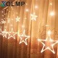 220 V Cortina de luzes Da corda da Estrela de natal de ano novo decoração de natal luzes led decorações de natal Rosa/Roxo/Vermelho/RGB