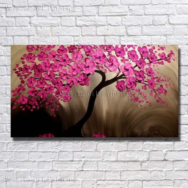 Pink color flower tree beautiful flower tree wall picture wall canvas art home decor wall painting