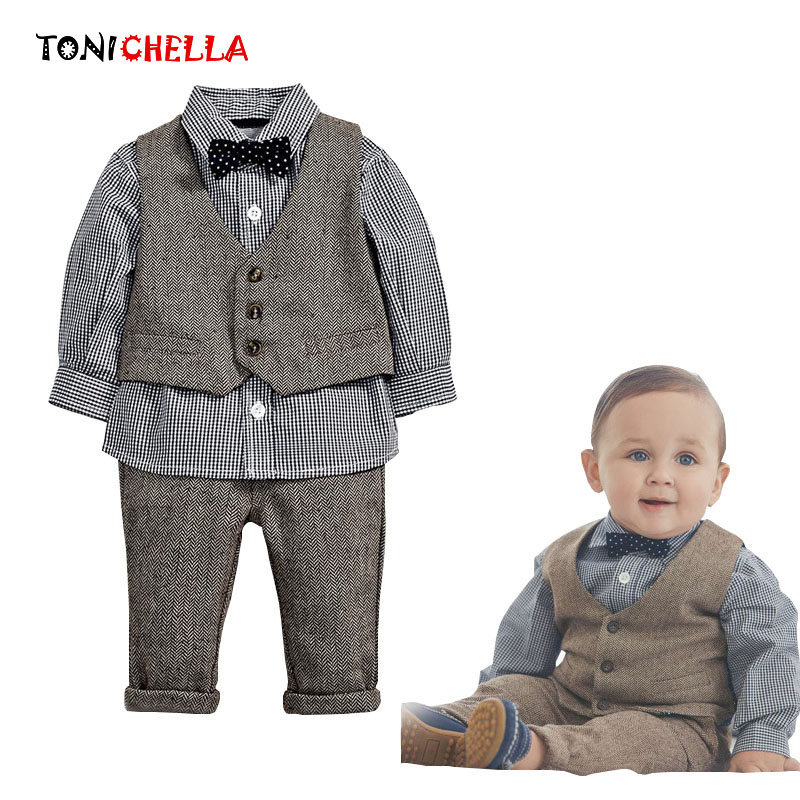 3Pcs Baby Boy Sets Gentleman Cotton Plain Shirt Vest Pants Long Sleeve Boys Clothing Set Bow Tie Wedding Ceremonies Suit CL5125 2018 spring newborn baby boy clothes gentleman baby boy long sleeved plaid shirt vest pants boy outfits shirt pants set