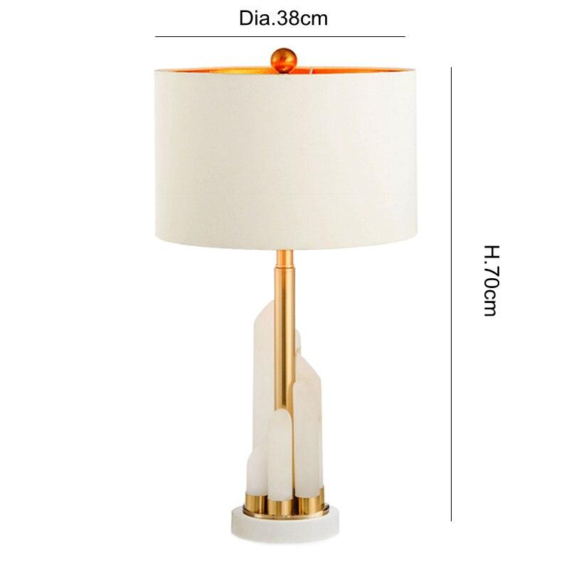 Post modern marble table lamp modern High quality white cloth art desk lamp bedroom foyer study lighting fixture E27 LED lamp