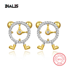 INALIS New Cute Alarm Clock Stud Earrings 925 Sterling Silver Micro Paved Clear CZ Crystal Delicate Brincos for Women Girl Party inalis new delicate cute drop earrings 925 sterling silver long chian with angle dangle brincos red clear cz fine jewelry girl