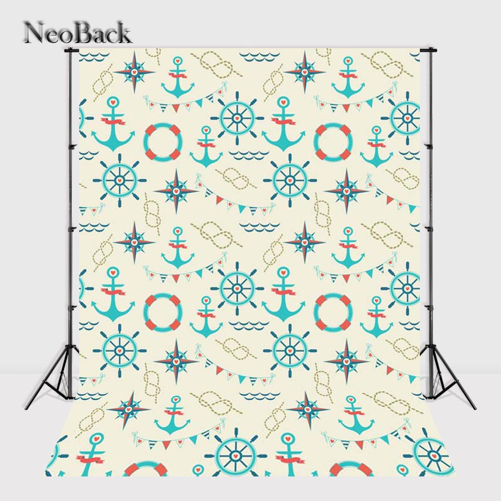 NeoBack Vinyl Cloth New Born Baby Blue Anchor Rudder Pattern Wall Backdrops Printed Chil ...