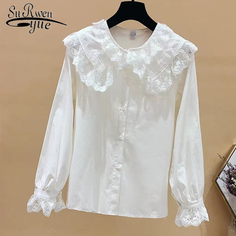 Women 2019 spring fashion   blouse     shirt   long sleeve cotton womens tops and   blouses   lace collar women   shirts   blusas female 2155 50