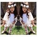 Varejo Conjuntos de Roupas de Verão Meninas Flor Legging Calças + Colete + Outerwear Crianças Casaco Bebê Menina 3 pcs Set Roupas Infantis ternos