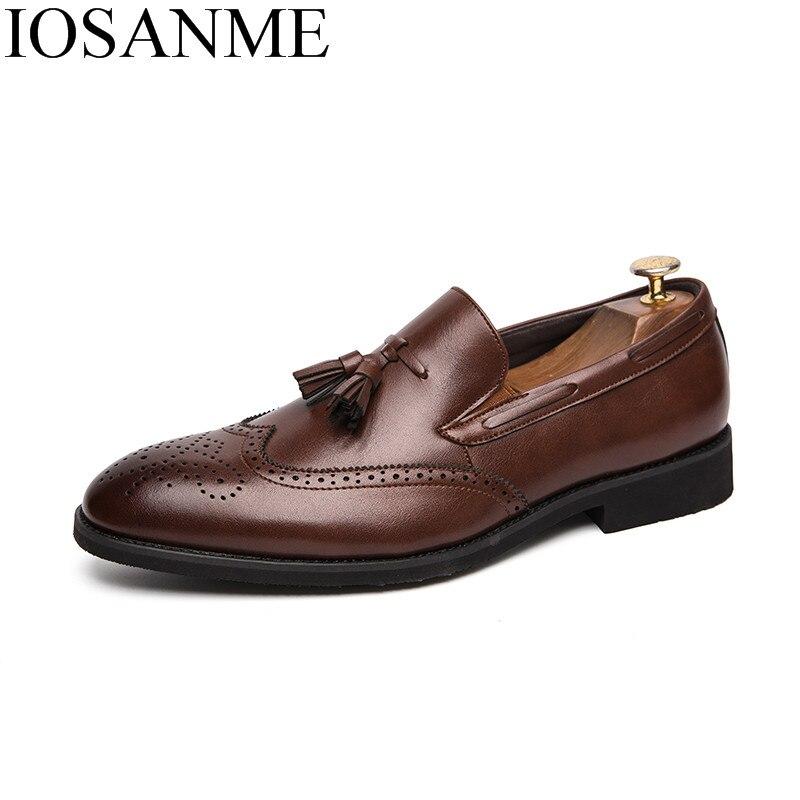 elegant formal leather shoes men luxury brand tassel dress male footwear italian office wedding moccasins homme