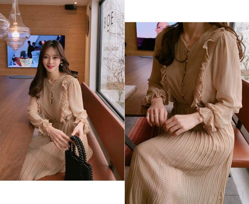 BGTEEVER Vintage O-neck Ruffles Chiffon Women Dress Flare Sleeve Polka Dot Lace Up Female Dress Two Layers Pleated Vestidos 17