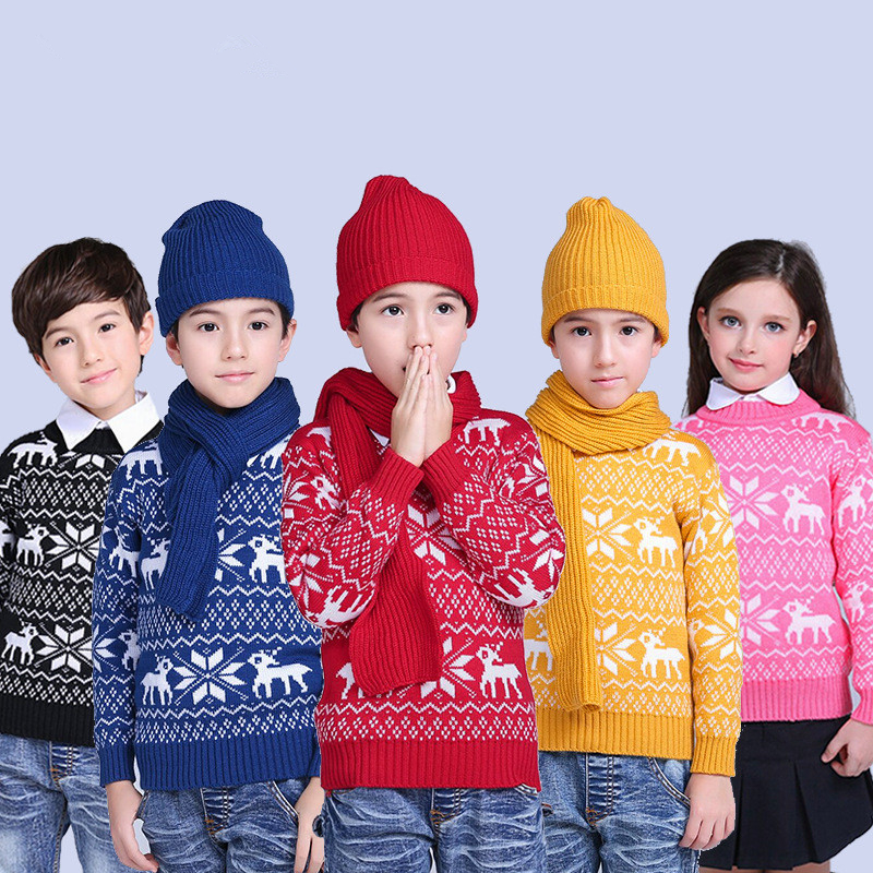 Autumn Winter Baby Girls Boys Clothes Pullover Christmas Knitted Sweater Kid Long Sleeve Casual Warm Sweaters Baby Clothes 2-13T children autumn and winter warm clothes boys and girls thick cashmere sweaters