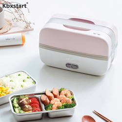 Kbxstart 220V Portable Multifunction Steam Rice Cooker Lunch Box Double Layer Stainless Steel Liner Food Cuiseur Kitchen Cooker
