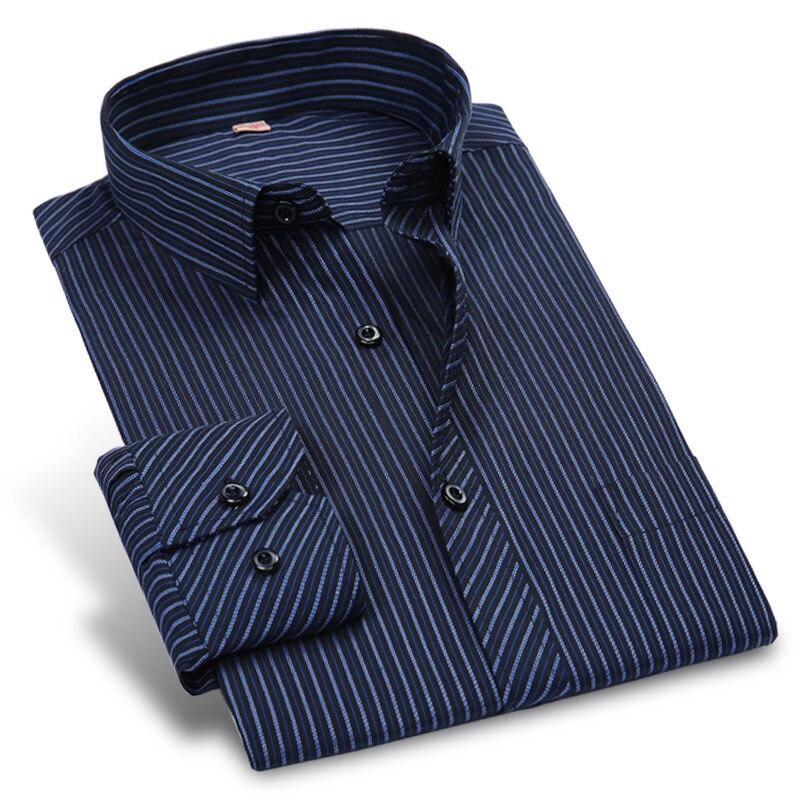 Осень Новый 2017 полосатый Для мужчин рубашка Формальные мода с длинным рукавом бренд Бизнес Для мужчин повседневная рубашка Regular Fit плюс Размеры 5xl 6xl