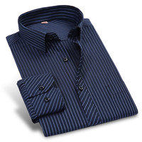 Fashion New Middle Aged Striped Dress Shirt Slim Fit Cotton And Polyester Brand Dessign Blue And